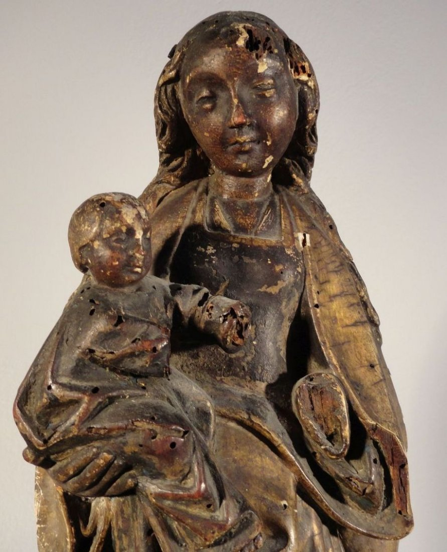 Beautiful16th cent Madonna and Child Carved and Painted