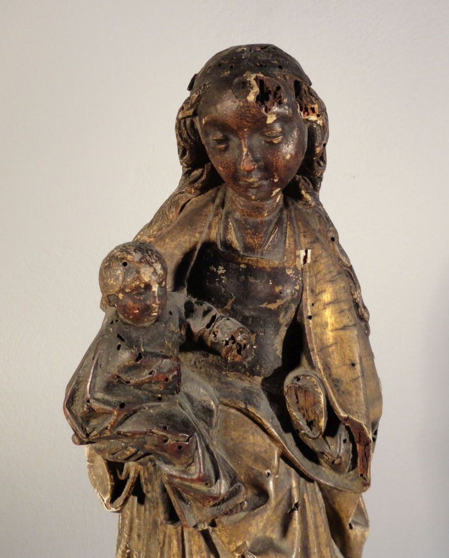 Beautiful16th cent Madonna and Child Carved and Painted - 3