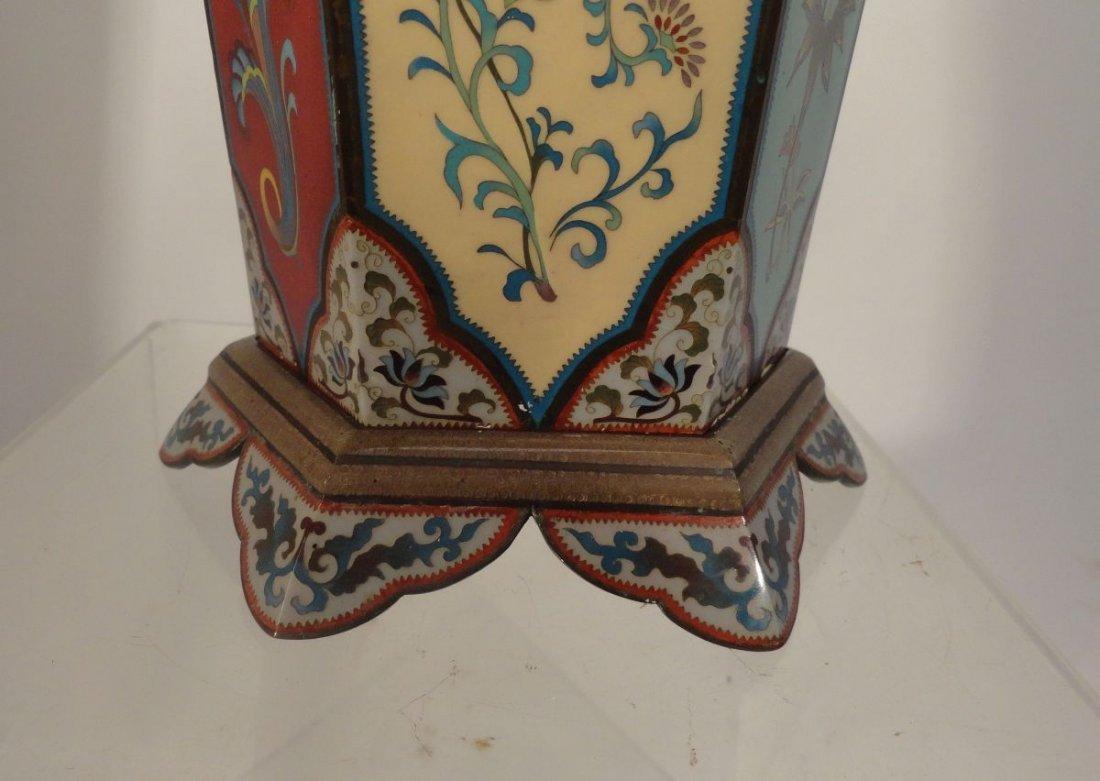 Large Japanese Cloisonne Vase  wit Base Copper Liner - 10