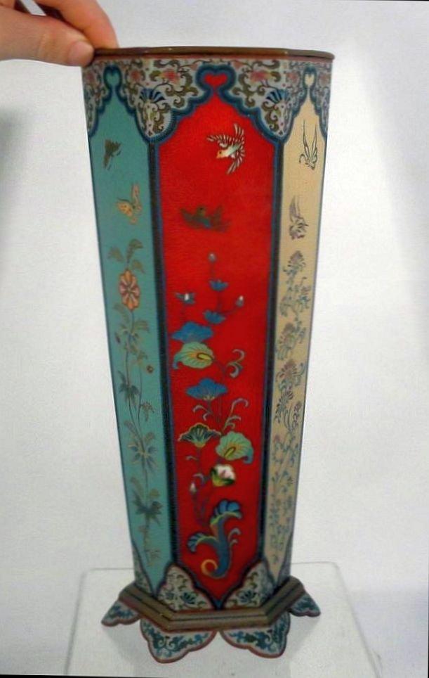 Large Japanese Cloisonne Vase  wit Base Copper Liner - 2