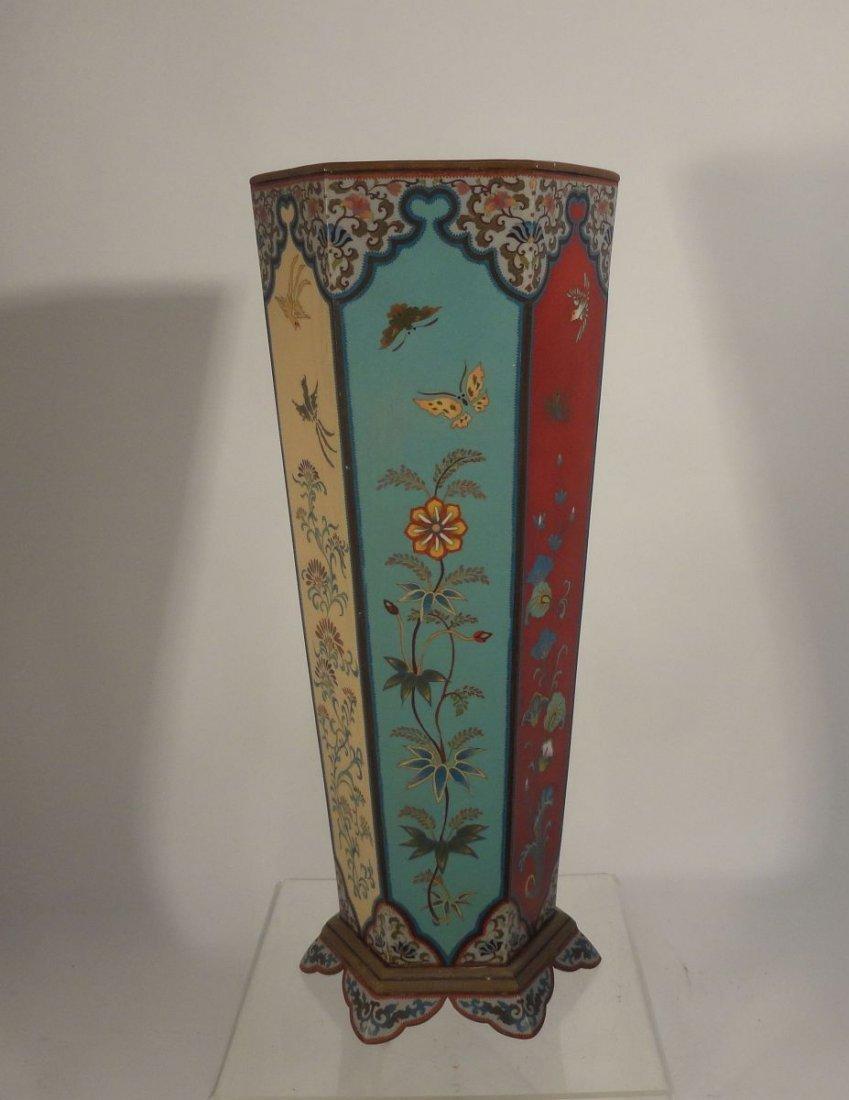 Large Japanese Cloisonne Vase  wit Base Copper Liner - 3