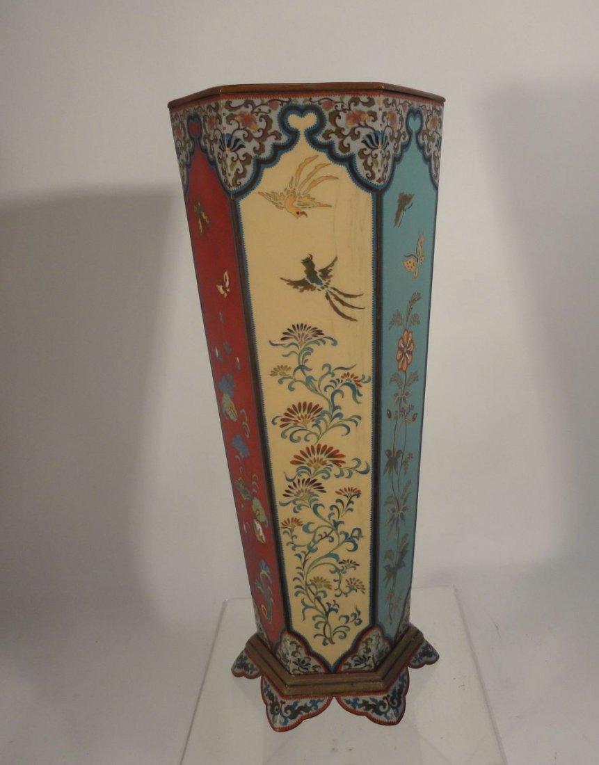 Large Japanese Cloisonne Vase  wit Base Copper Liner - 4
