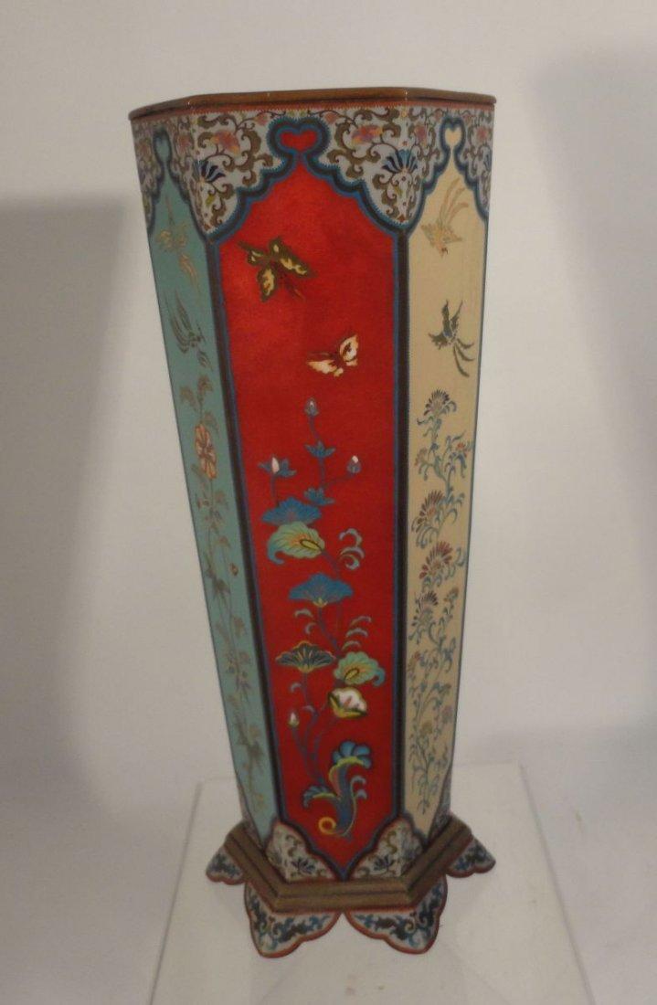 Large Japanese Cloisonne Vase  wit Base Copper Liner - 5