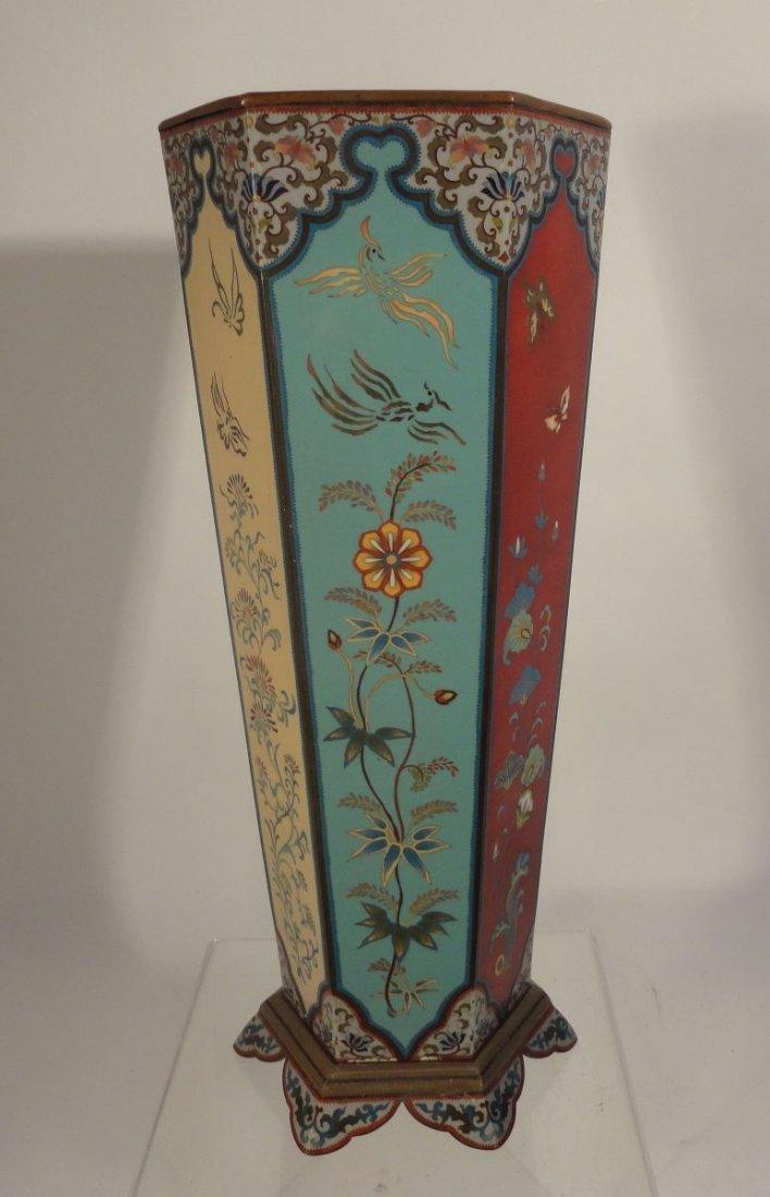 Large Japanese Cloisonne Vase  wit Base Copper Liner - 6