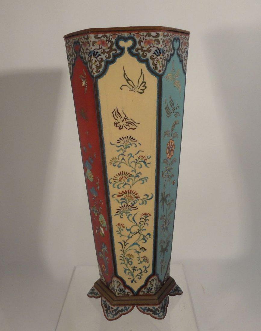 Large Japanese Cloisonne Vase  wit Base Copper Liner - 7