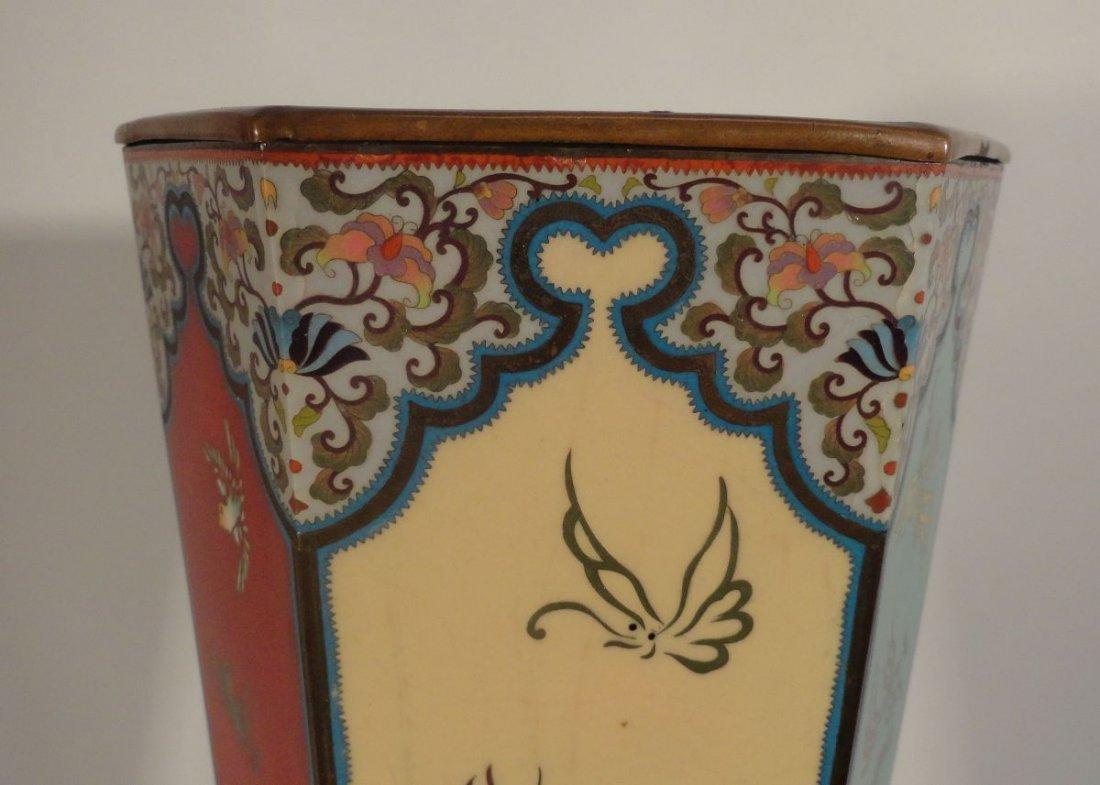 Large Japanese Cloisonne Vase  wit Base Copper Liner - 8