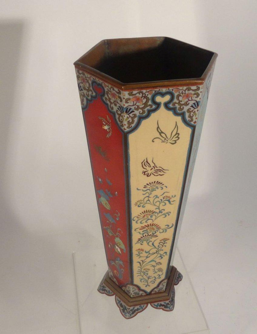 Large Japanese Cloisonne Vase  wit Base Copper Liner - 9