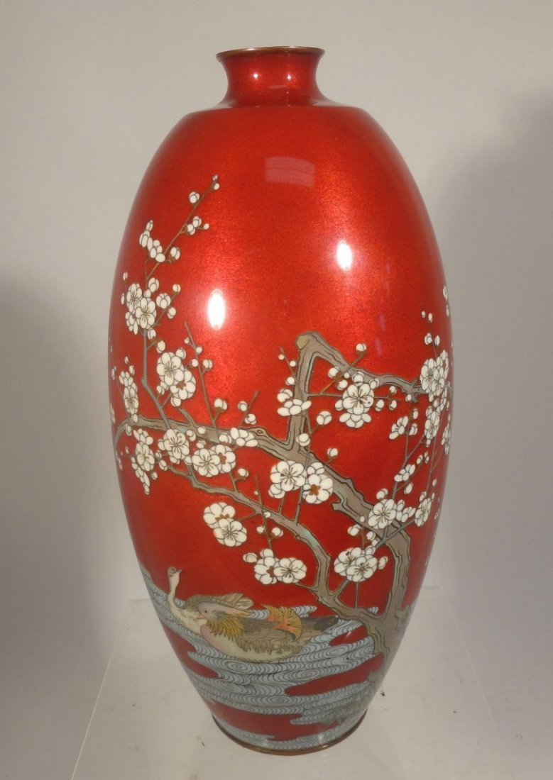 Large Red Japanese Cloisonne Vase Prunus and Ducks