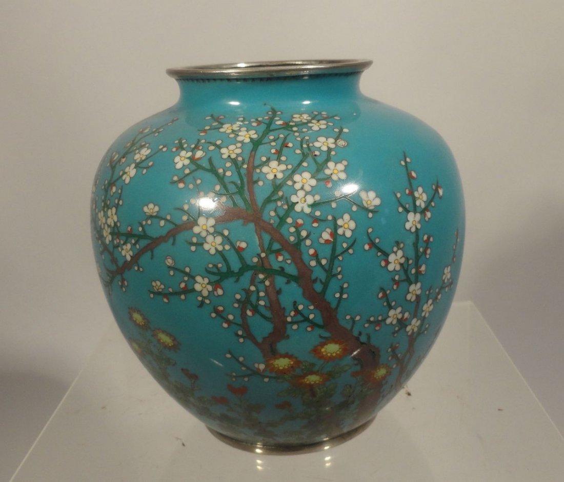 Japanese Blue Cloisonne Vase Sparrow  Garden Ando style