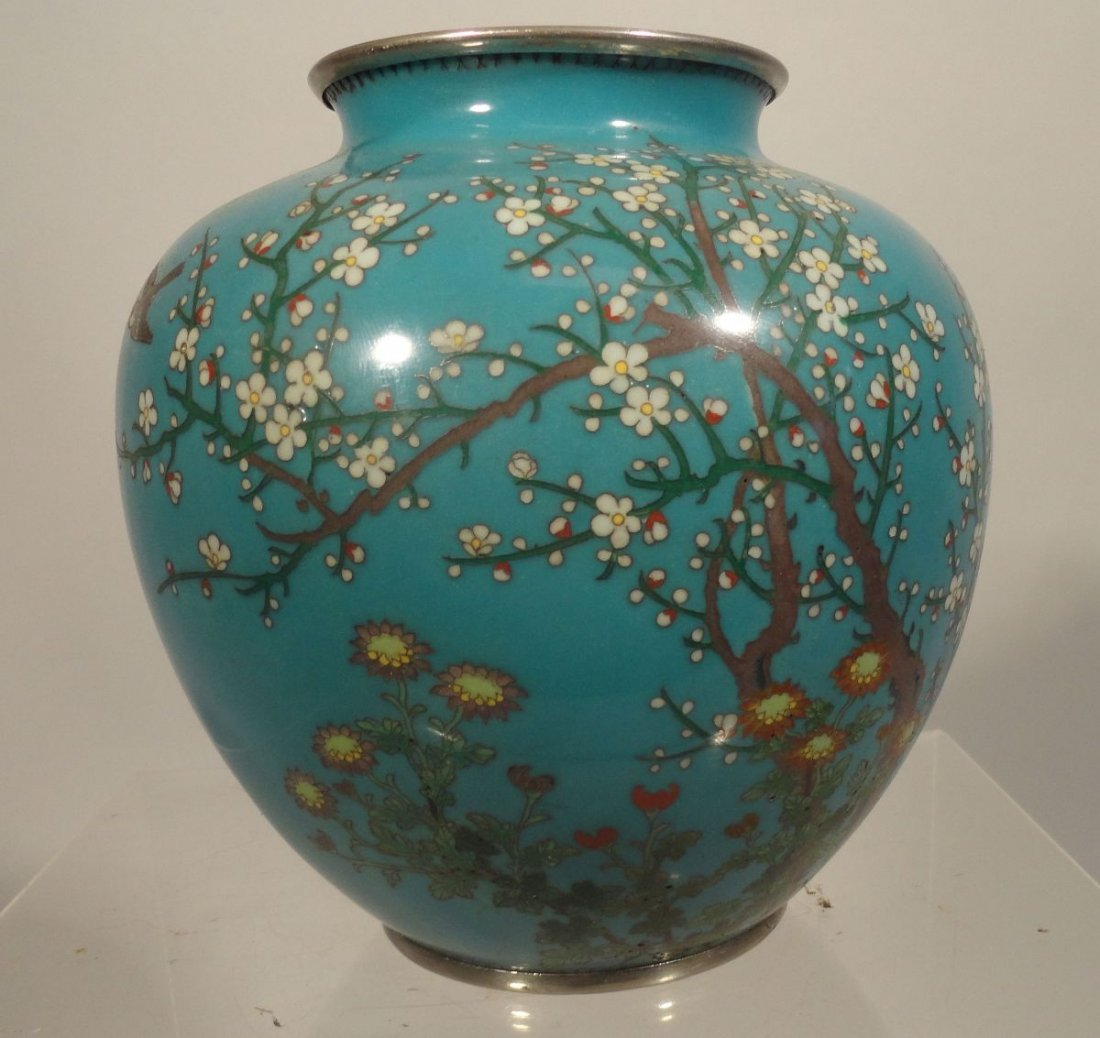 Japanese Blue Cloisonne Vase Sparrow  Garden Ando style - 2