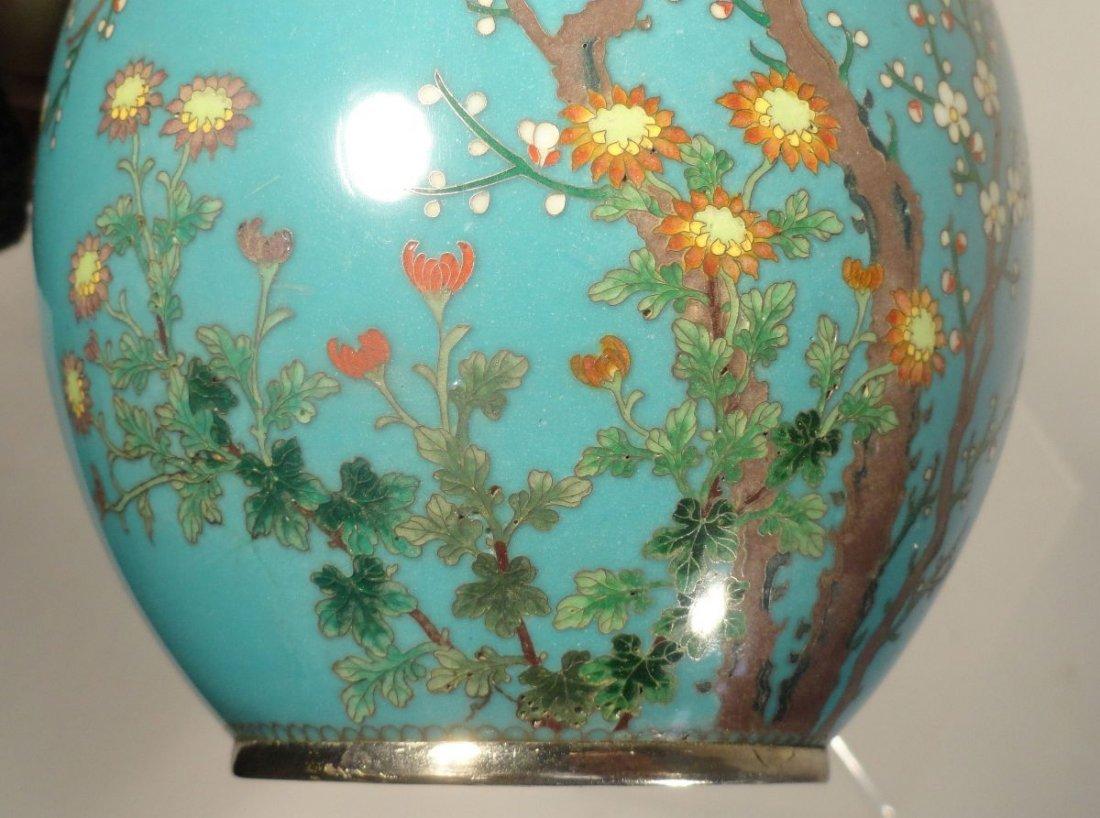 Japanese Blue Cloisonne Vase Sparrow  Garden Ando style - 3