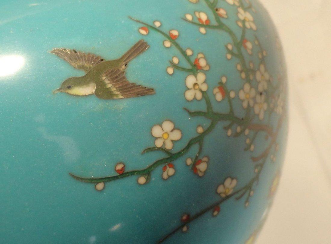 Japanese Blue Cloisonne Vase Sparrow  Garden Ando style - 4