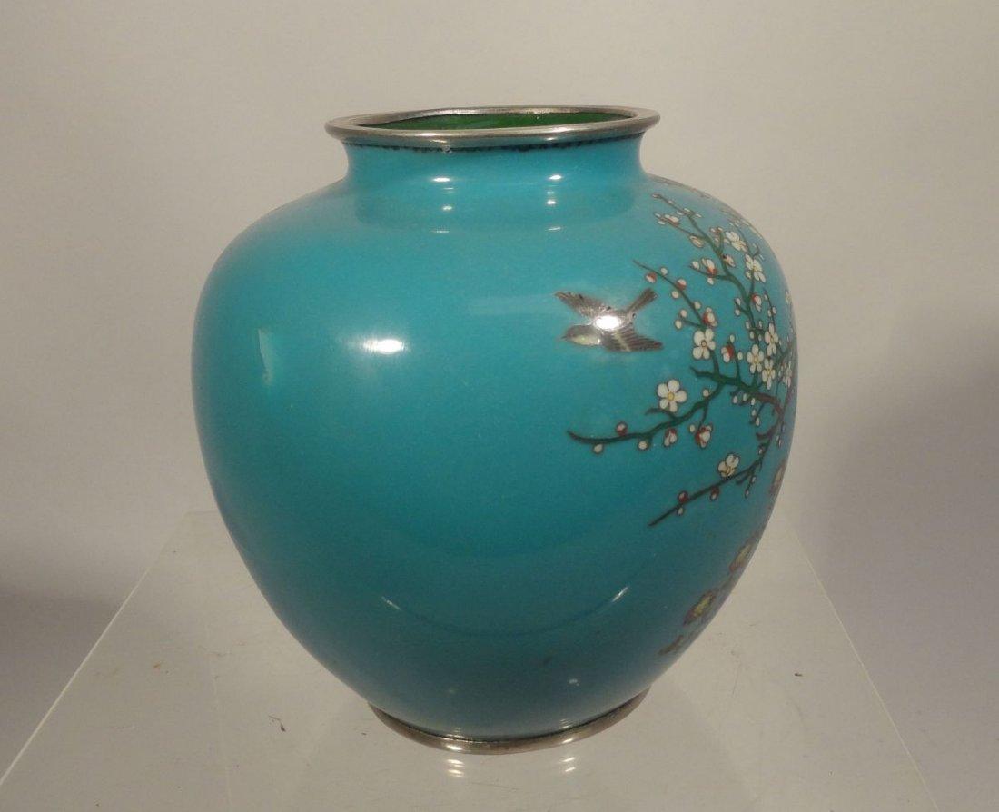 Japanese Blue Cloisonne Vase Sparrow  Garden Ando style - 5