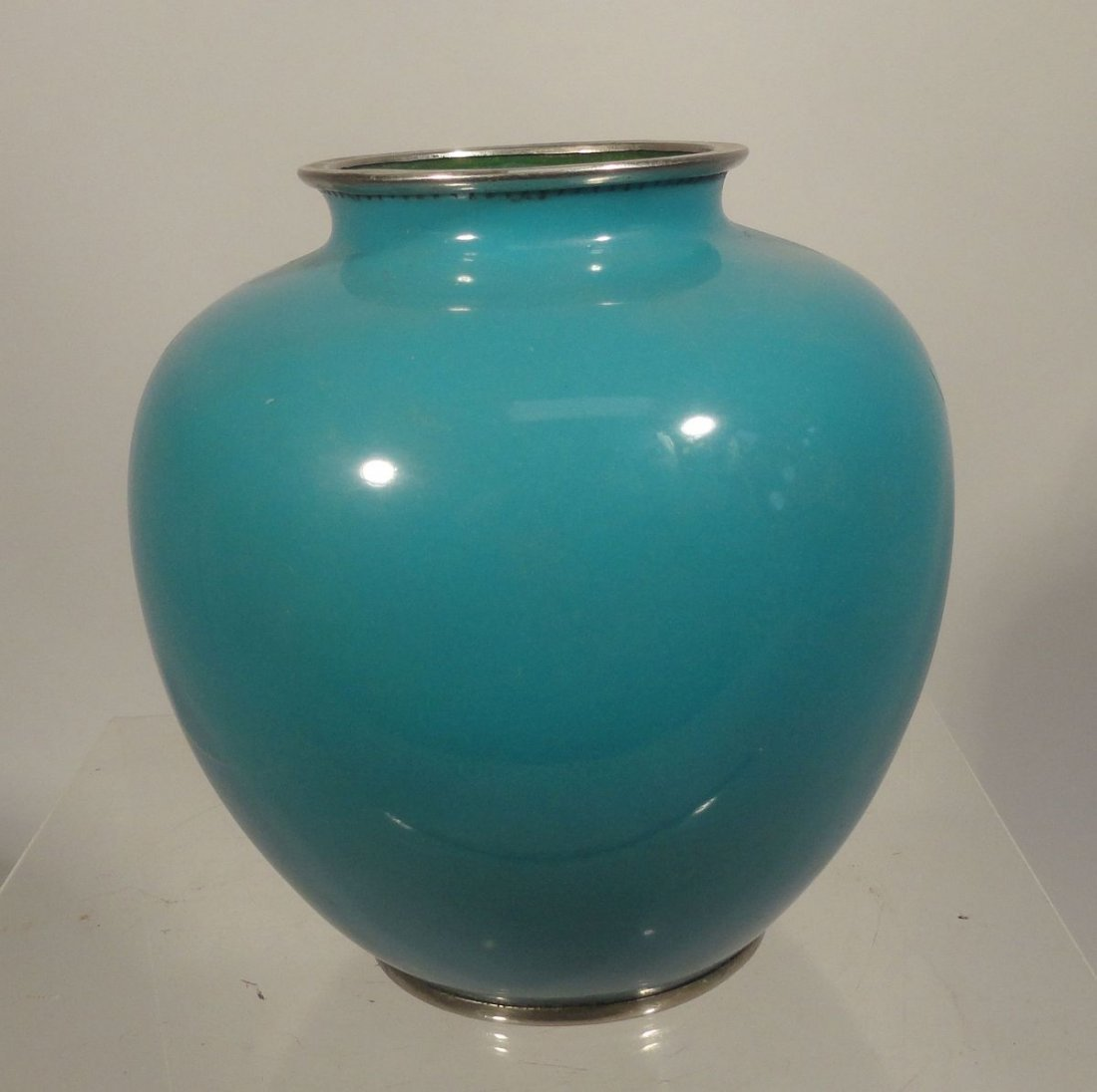 Japanese Blue Cloisonne Vase Sparrow  Garden Ando style - 6
