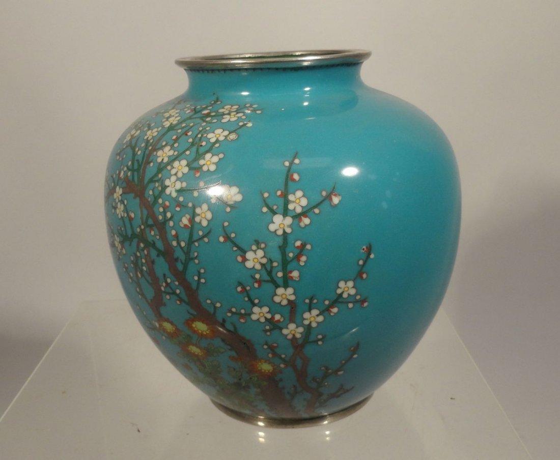 Japanese Blue Cloisonne Vase Sparrow  Garden Ando style - 7