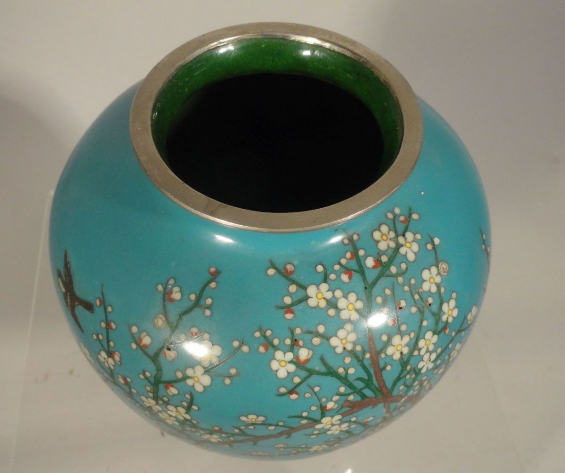 Japanese Blue Cloisonne Vase Sparrow  Garden Ando style - 8