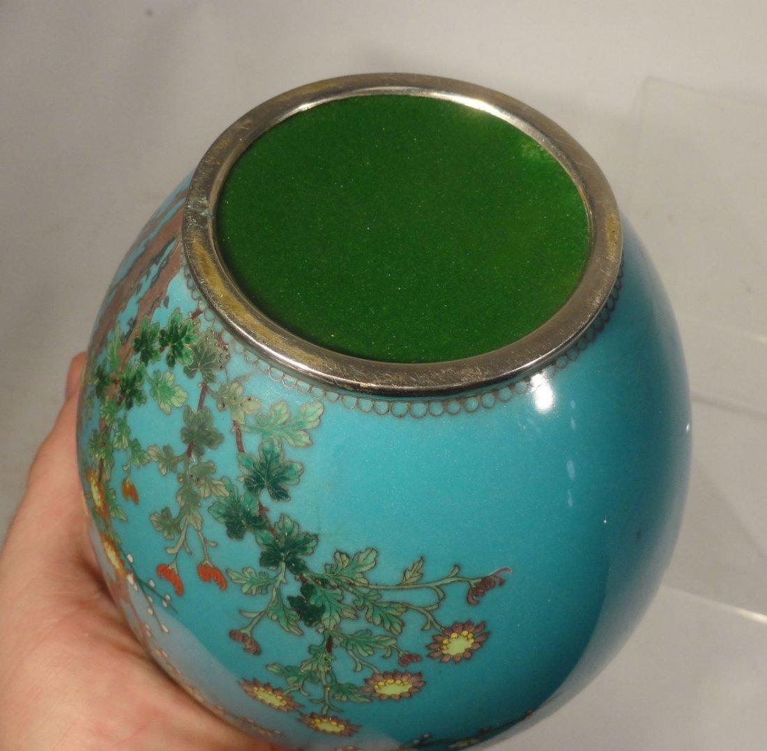 Japanese Blue Cloisonne Vase Sparrow  Garden Ando style - 9
