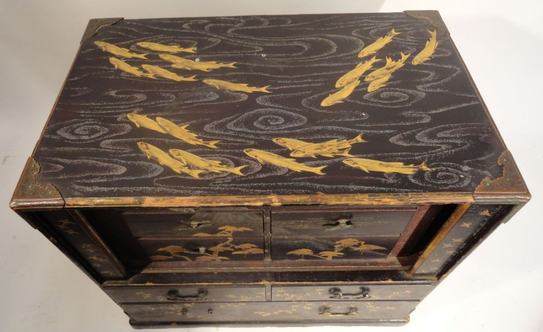 Fine Japanese Gilt Lacquer Cabinet Jewelry Case Fish - 10