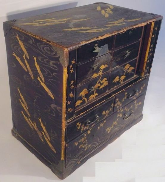 Fine Japanese Gilt Lacquer Cabinet Jewelry Case Fish - 3