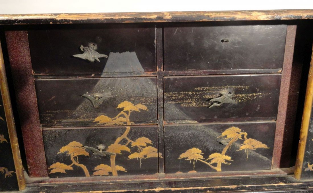 Fine Japanese Gilt Lacquer Cabinet Jewelry Case Fish - 4
