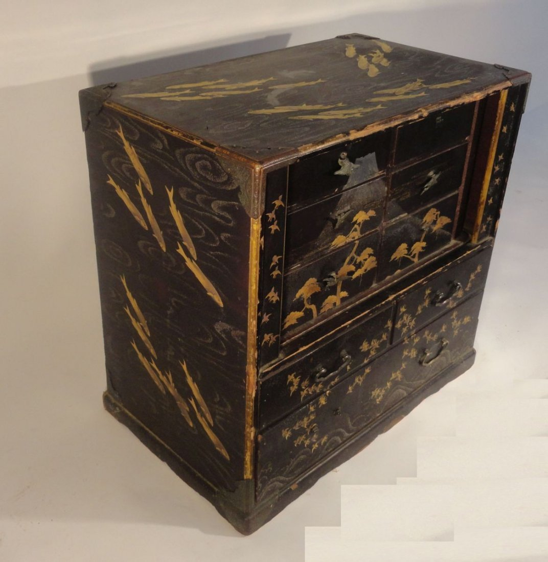 Fine Japanese Gilt Lacquer Cabinet Jewelry Case Fish - 5