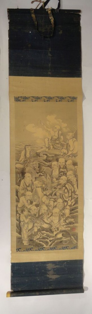 Japanese Scroll Painting Lohan Arhats Buddhists - 2