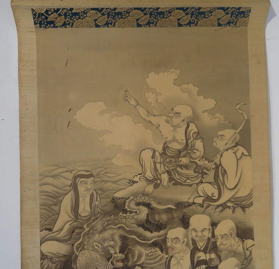 Japanese Scroll Painting Lohan Arhats Buddhists - 3