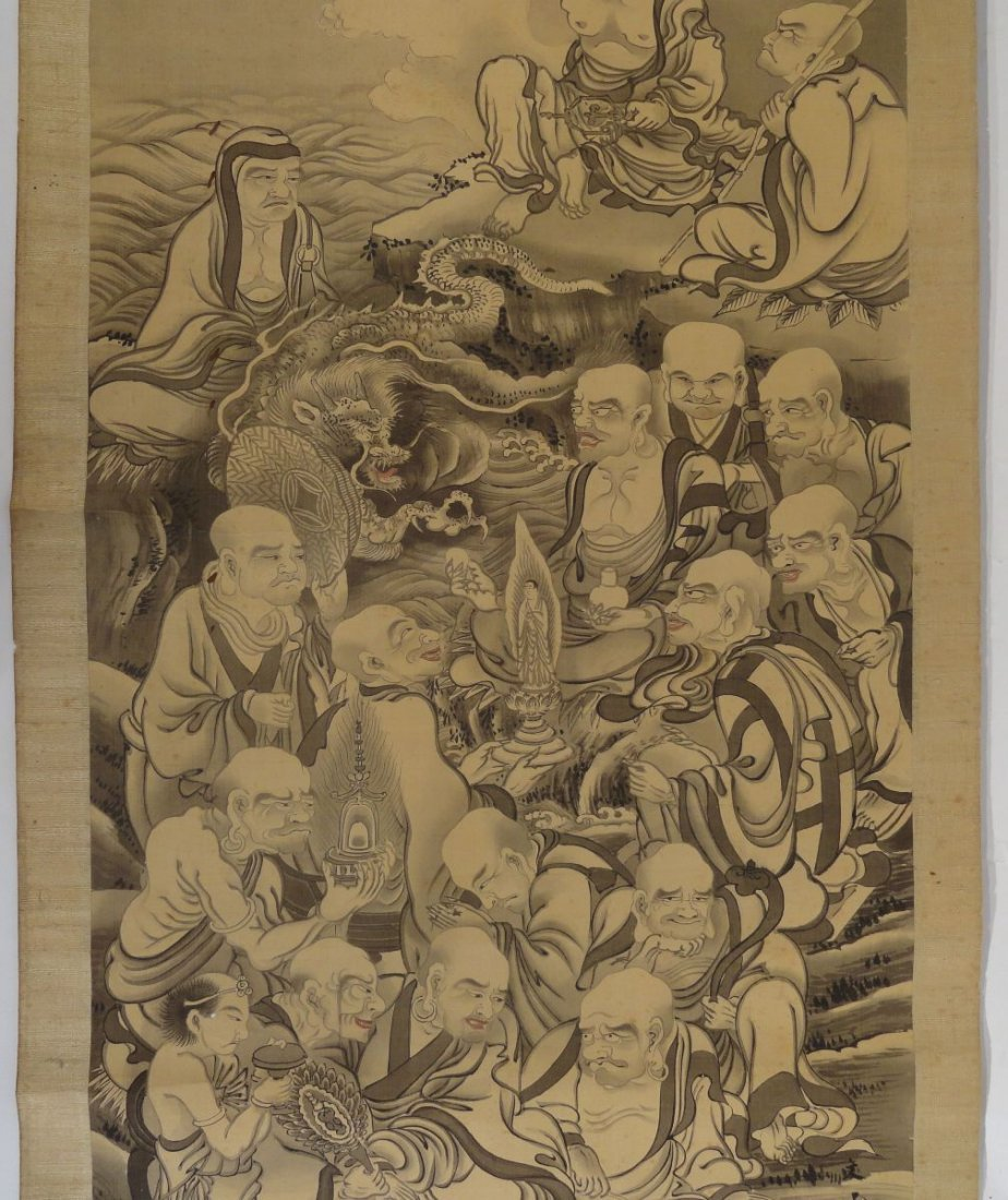 Japanese Scroll Painting Lohan Arhats Buddhists - 4