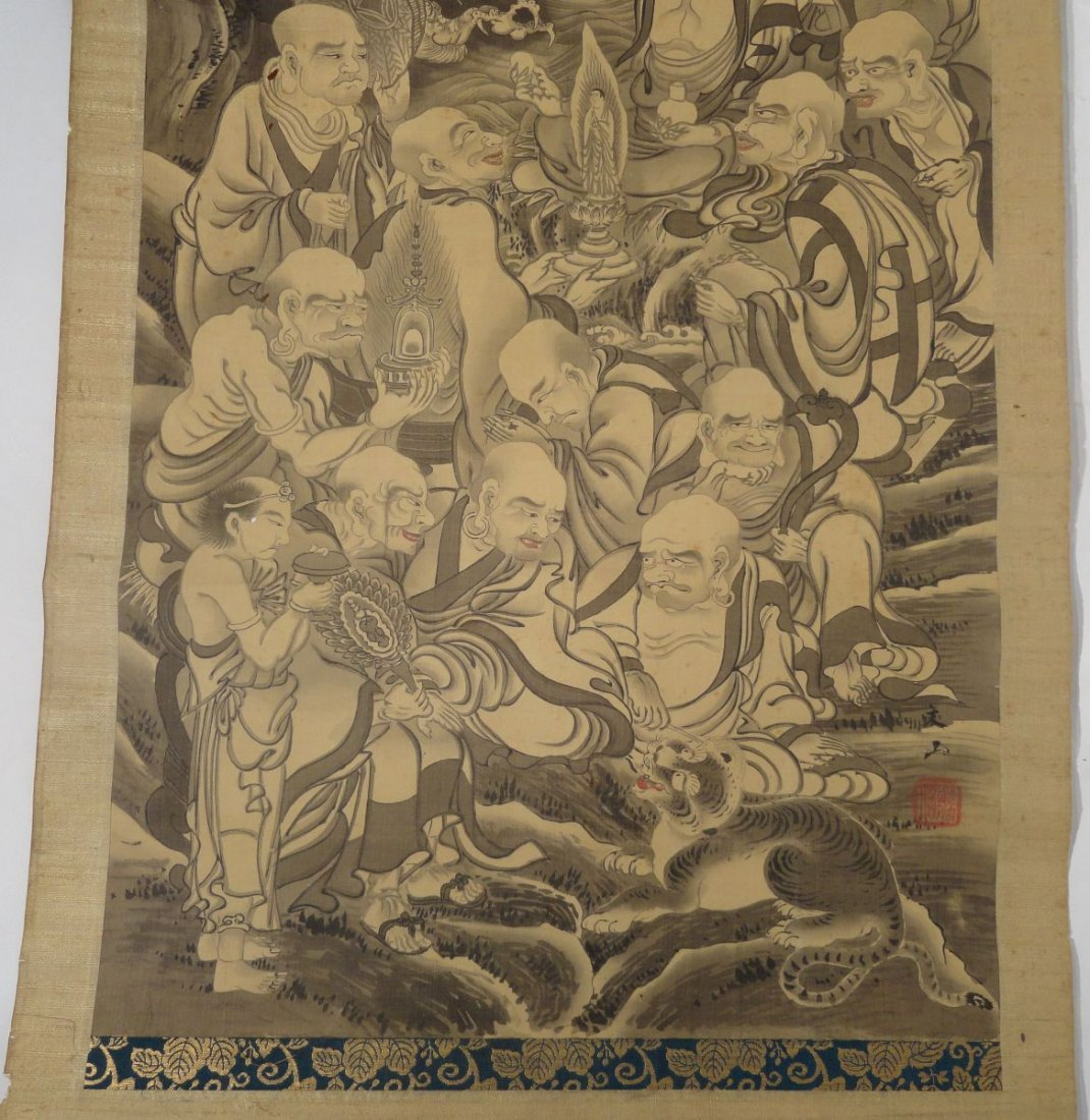 Japanese Scroll Painting Lohan Arhats Buddhists - 5