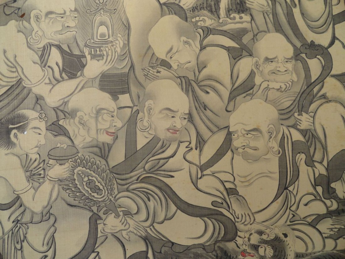 Japanese Scroll Painting Lohan Arhats Buddhists - 7
