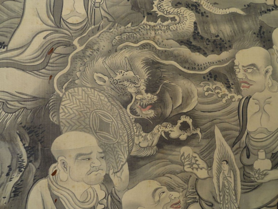 Japanese Scroll Painting Lohan Arhats Buddhists - 9
