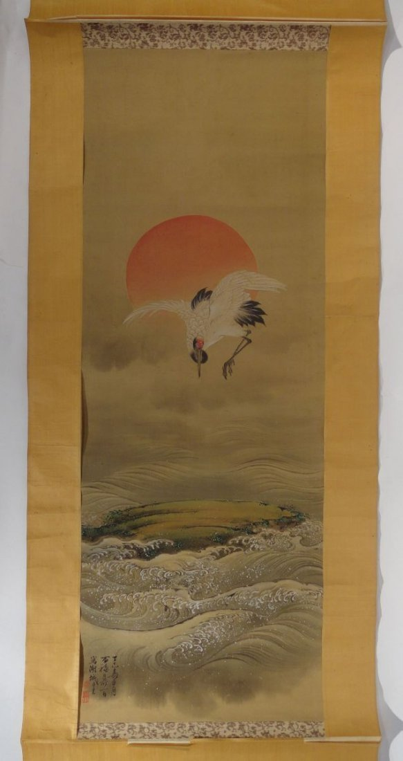 Japanese Signed Scroll Painting of a Crane above Waves