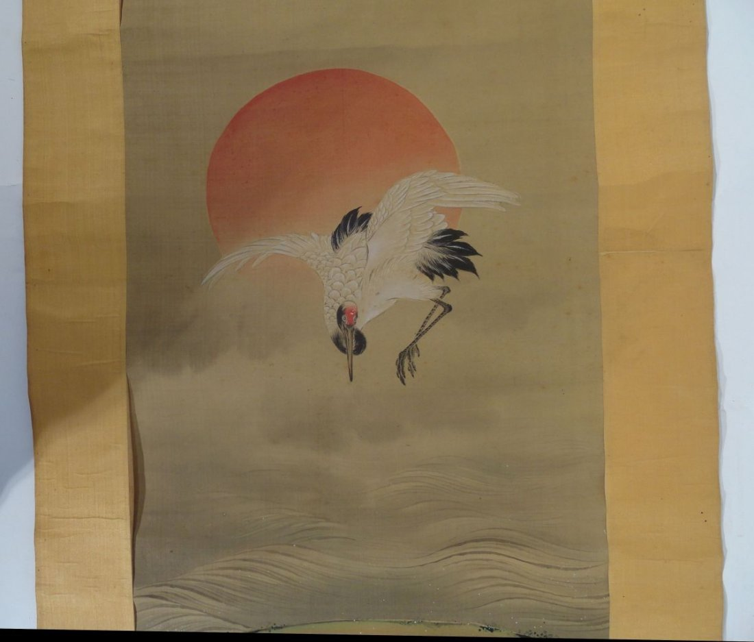 Japanese Signed Scroll Painting of a Crane above Waves - 3