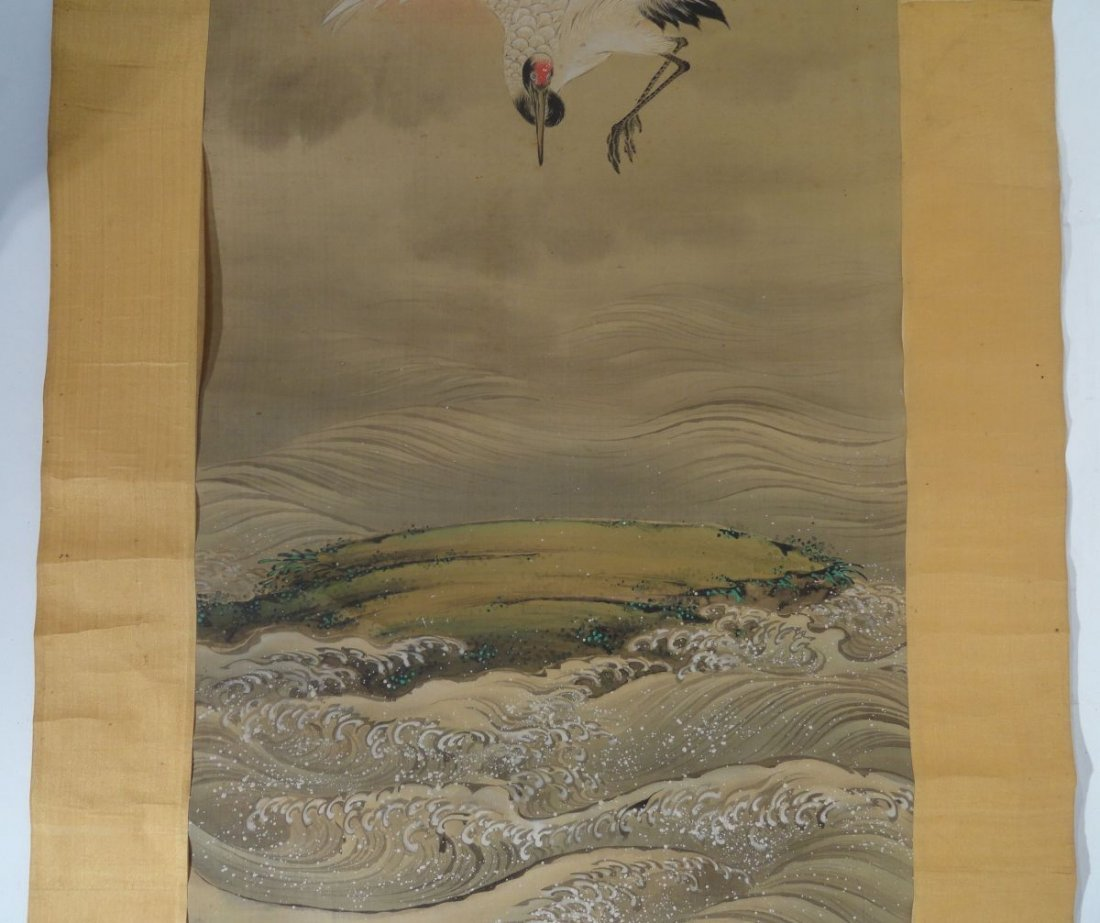 Japanese Signed Scroll Painting of a Crane above Waves - 4