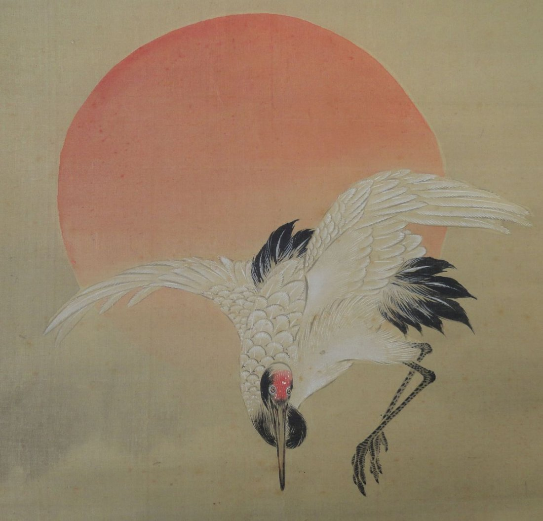 Japanese Signed Scroll Painting of a Crane above Waves - 7