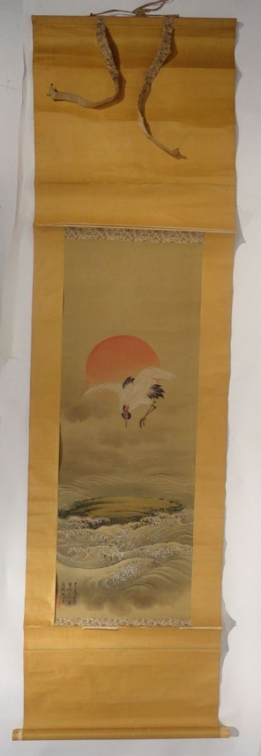 Japanese Signed Scroll Painting of a Crane above Waves - 9