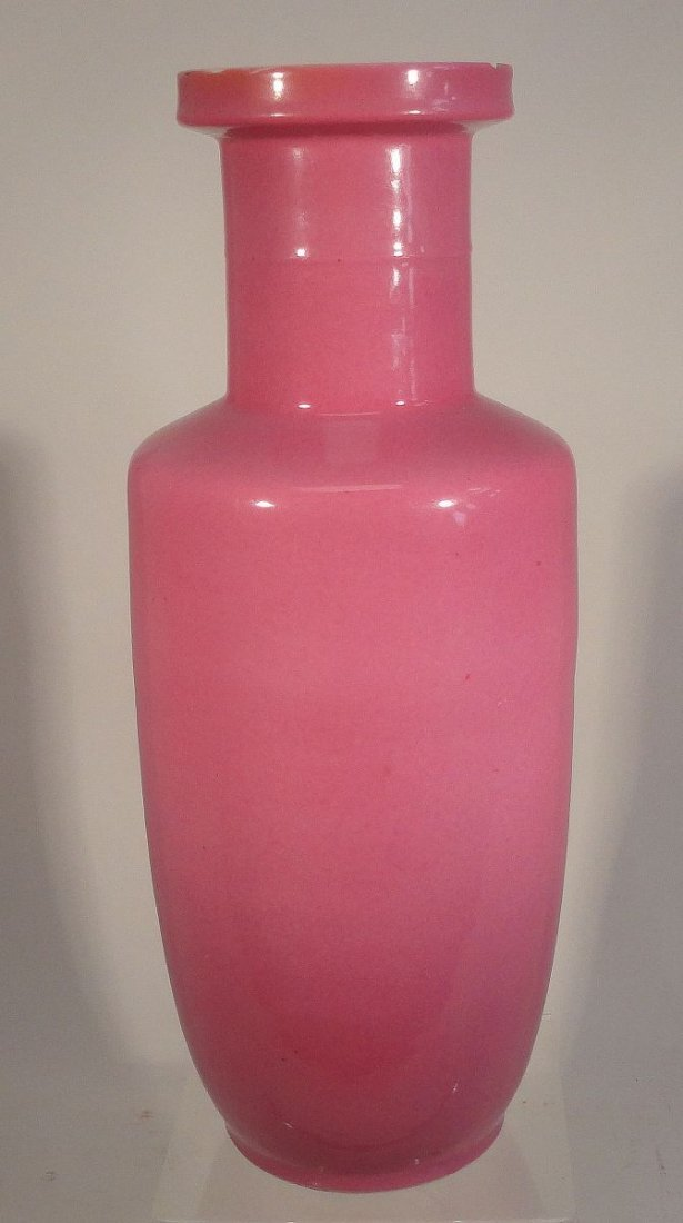 Important and Rare Kangxi Pink-Enameled Rouleau Vase