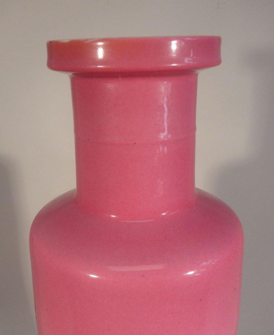 Important and Rare Kangxi Pink-Enameled Rouleau Vase - 3