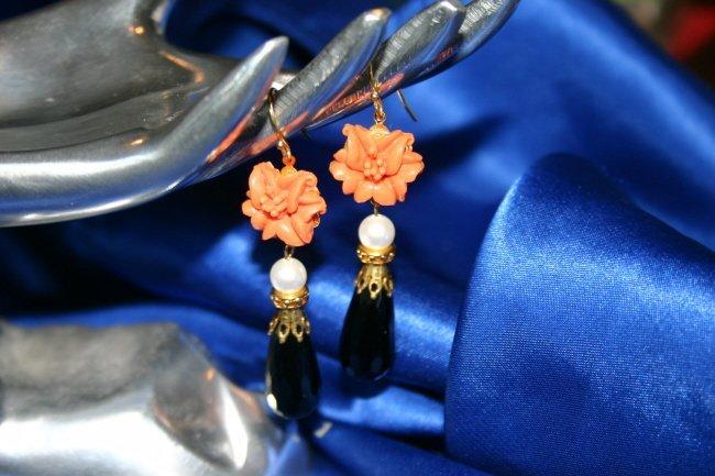10 K Gold Jet Faux Coral Earrings
