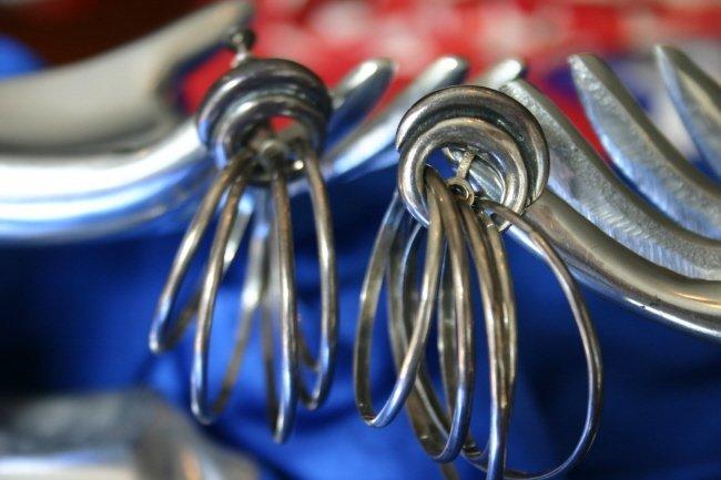 Antonio Pineda Iconic Kinetic Silver Hoop Earrings