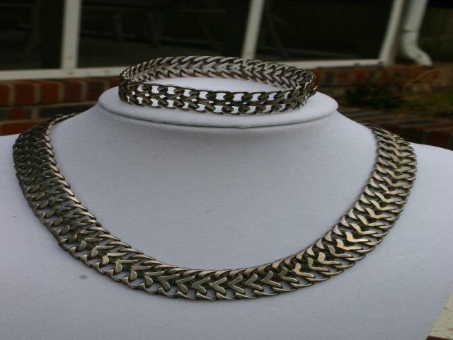 Mexico Sterling Silver Necklace & Bracelet