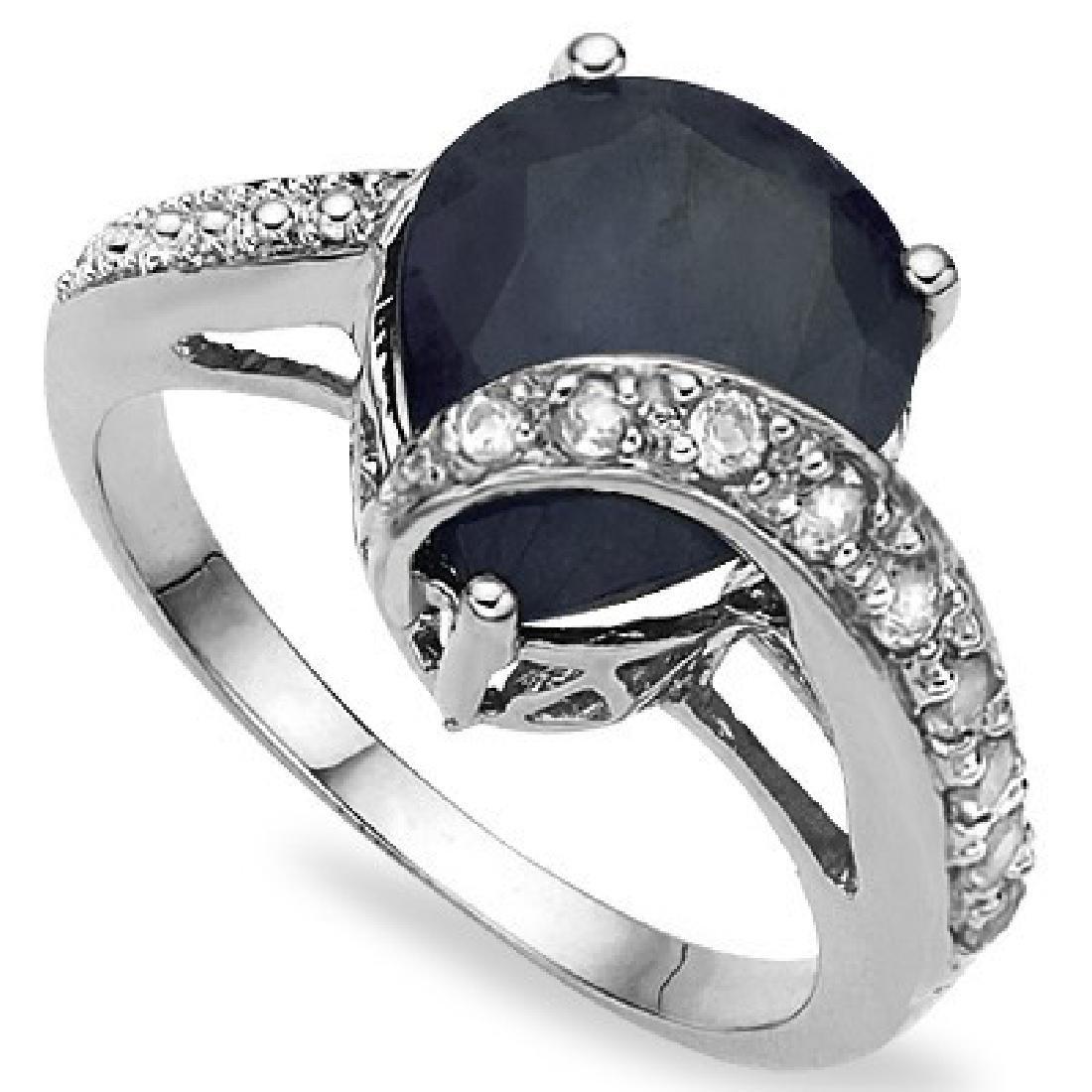 DIAMOND ACCENT 5CT BLACK SAPPHIRE RING