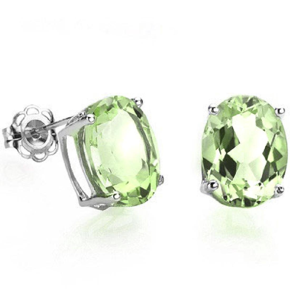 1CT OVAL GREEN AMETHSYT SOLITAIRE EARRINGS
