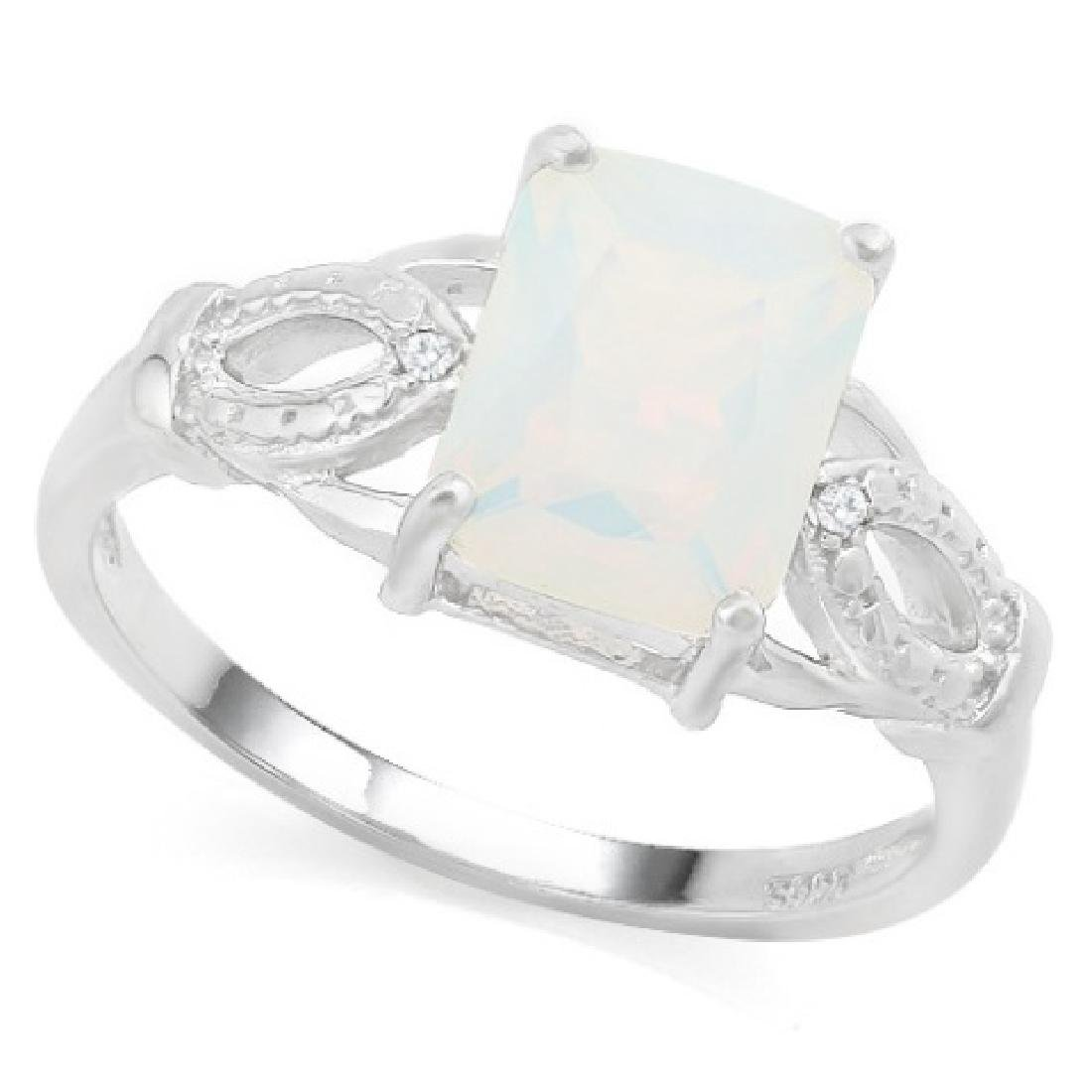 2CT SPARKLING FIRE OPAL/DIAMOND STERLING RING