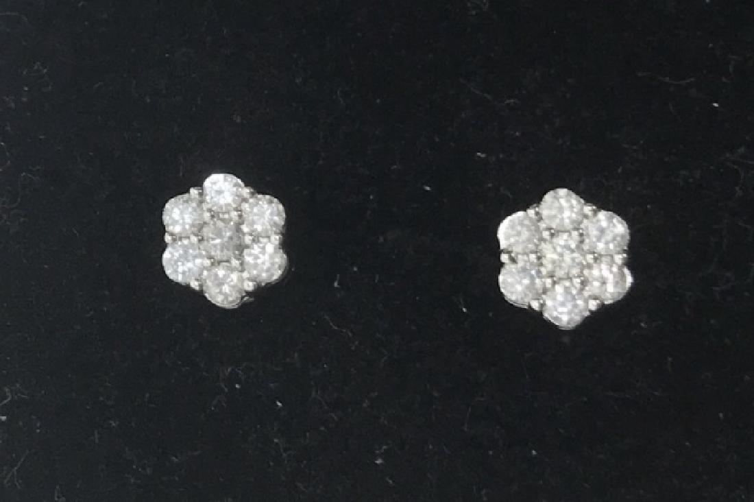 GLAM 10K WHITE GOLD DIAMOND EARRINGS