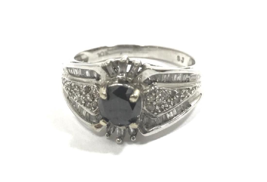 CLASSIC BLACK DIAMOND 10K WHITE GOLD RING