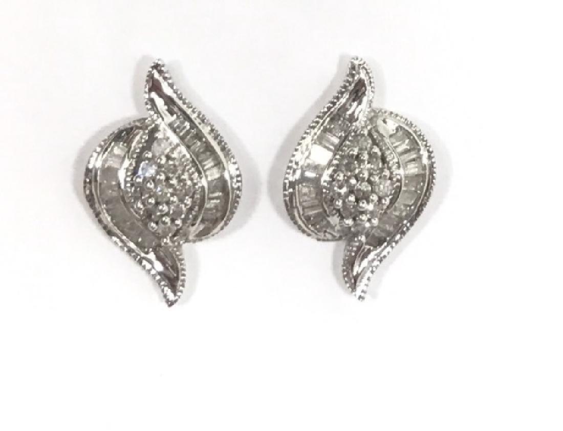 14K WHITE GOLD DIAMOND ART DECO EARRINGS