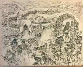 ROBERT VAN ZIMMERMAN INDIA INK ON PAPER V$1,800