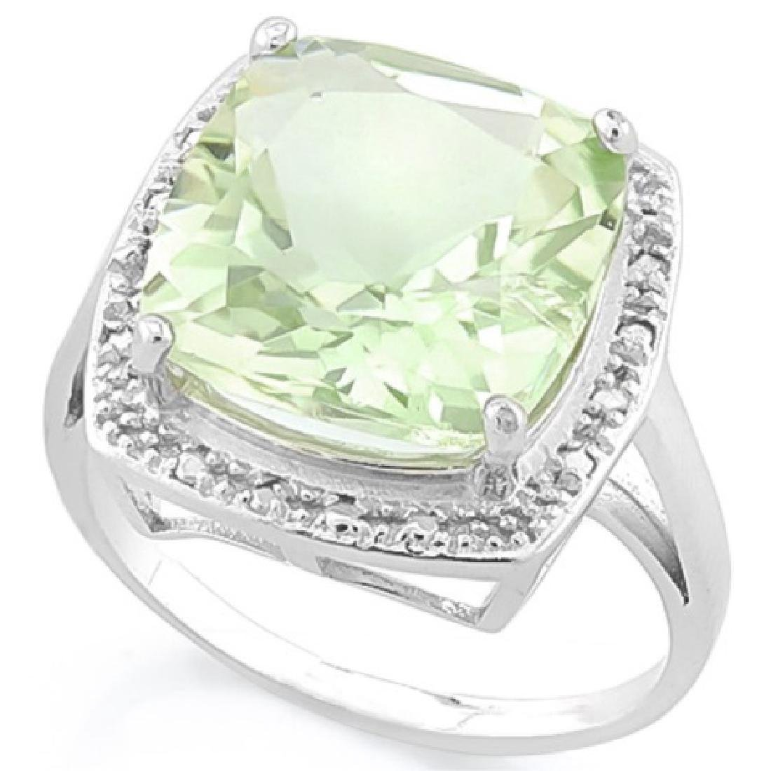 ELEGANT 5CT FACETED GREEN AMETHYST CUSHION CUT RIG