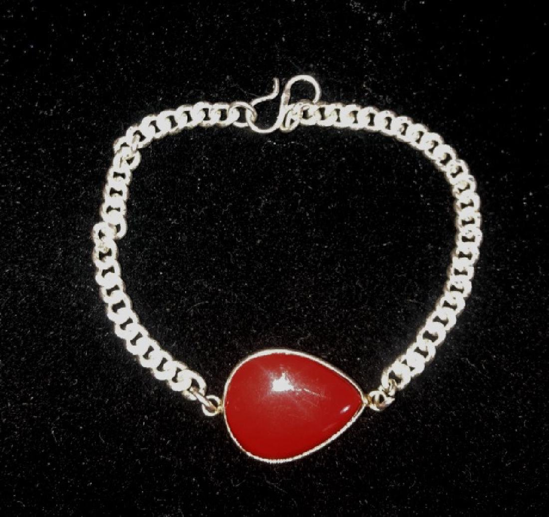 LADIES RED CORAL 5CT GEMSTONE BRACELET